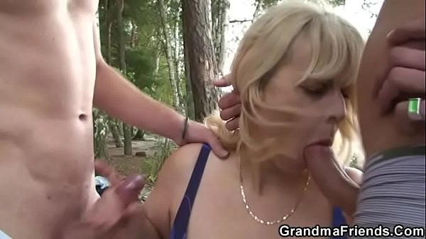 Threesome, Threesomes, Granny outdoors